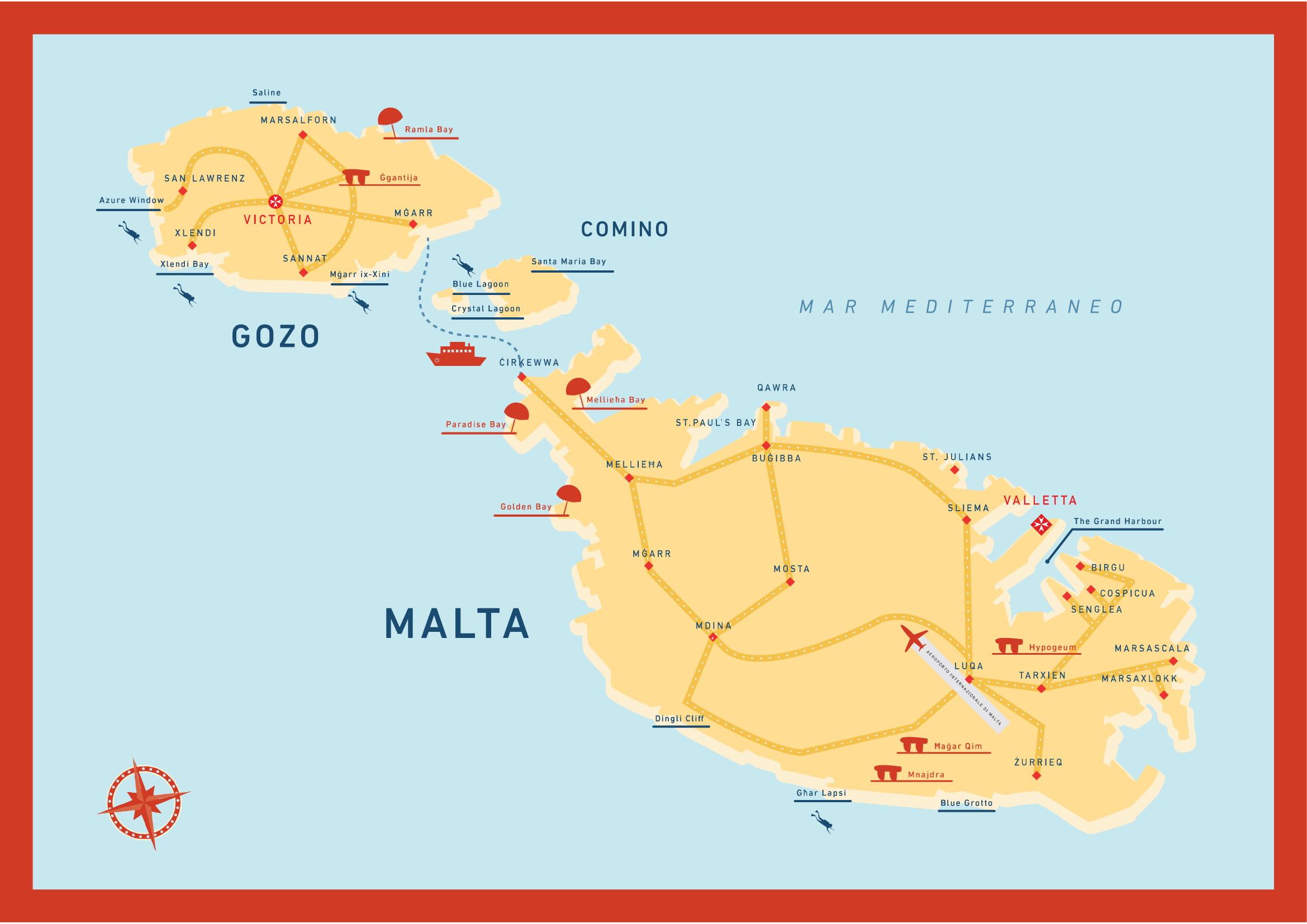 Cartina Di Malta Da Stampare.Mappa Di Malta Irisviaggi